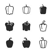 Pepper vector icons. Simple illustration set of 9 pepper elements, editable icons, can be used in logo, UI and web design