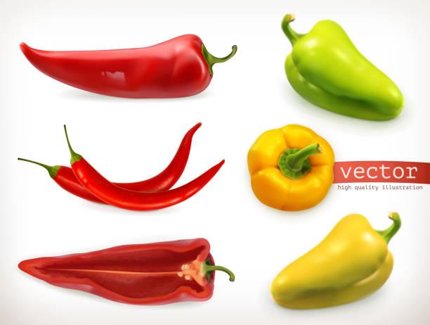 ilustrações de stock, clip art, desenhos animados e ícones de pepper. vegetable 3d vector icon set - red bell pepper isolated