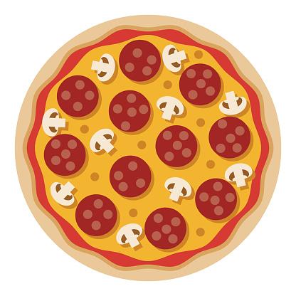 Pepperoni Mushroom Pizza Icon on Transparent Background