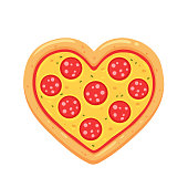 Heart shaped pepperoni pizza cartoon drawing isolated on white background. Funny pizza lovers vector illustration.