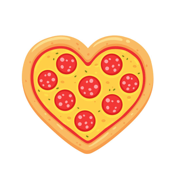 ilustraciones, imágenes clip art, dibujos animados e iconos de stock de corazón de pizza de pepperoni - pizza