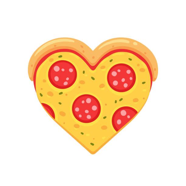 illustrazioni stock, clip art, cartoni animati e icone di tendenza di pepperoni pizza amore - pizza