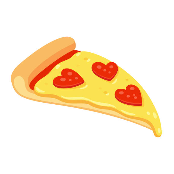 Pepperoni pizza love vector art illustration