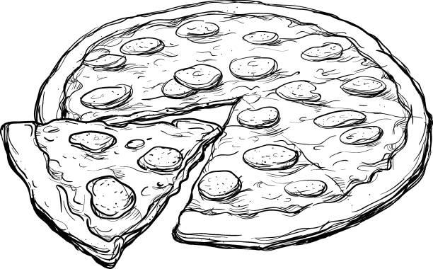 Pepperoni Pizza Sketch vector art illustration