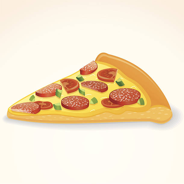 stockillustraties, clipart, cartoons en iconen met pepperoni pizza slice - dikke pizza close up