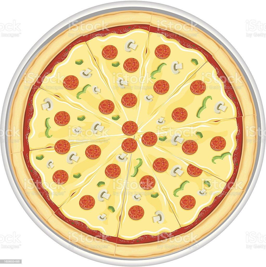 Pepperoni Pizza with Mushrooms Italian Food vector art illustration