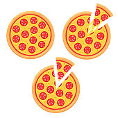 Pepperoni pizza icon set with slice. Simple cartoon style vector illustration.