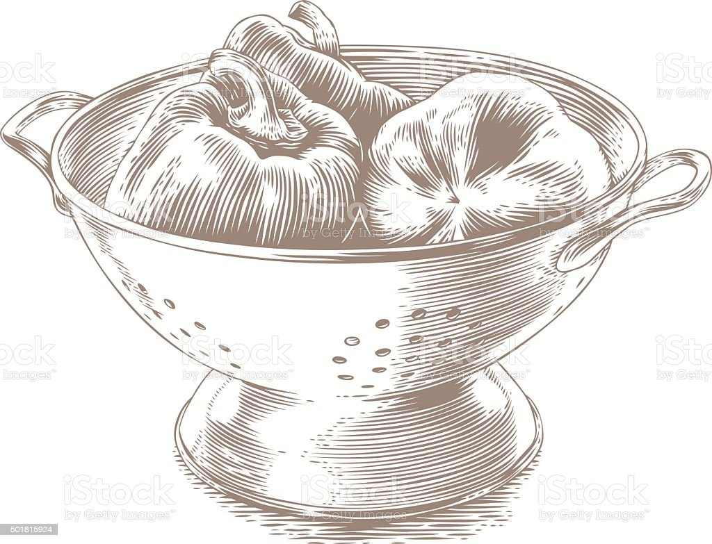 Peppers in the colander vector art illustration