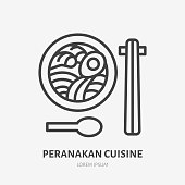 Peranakan cuisine flat line icon. Vector thin sign of noodle soup with food sticks, asian cafe logo. Japanese lunch illustration.
