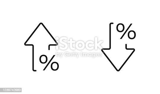 istock Percent arrow isolated icon in line style. Vector business concept 1239742683