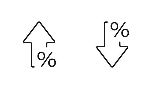 Percent arrow isolated icon in line style. Vector business concept Percent arrow isolated icon in line style. Vector business concept in flat. growth stock illustrations
