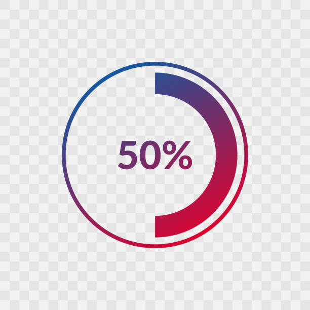 50 percent blue and red gradient pie chart sign. Percentage vector infographic symbol. Circle icon isolated on transparent background, illustration for business, download, web design 50 percent blue and red gradient pie chart sign. Percentage vector infographic symbol. Circle icon isolated on transparent background, illustration for business, download, web design halved stock illustrations