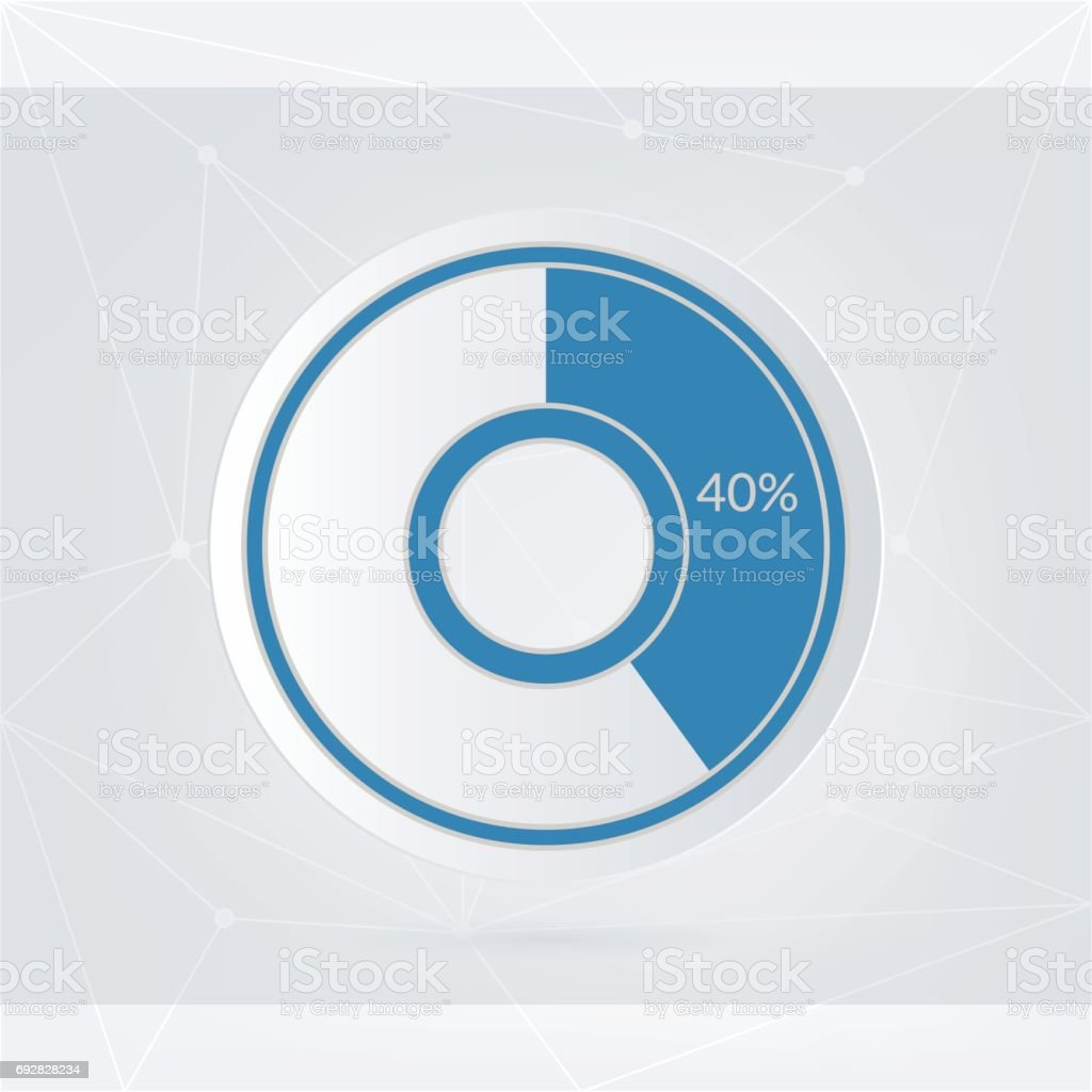 40 percent blue grey and white pie chart percentage vector 40 percent blue grey and white pie chart percentage vector infographics circle diagram isolated nvjuhfo Choice Image