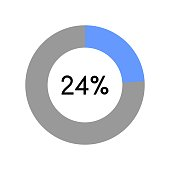 24 percent, circle percentage diagram on white background vector illustration.