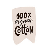 100 percent cotton logo. Hand drawn lettering. Vector text label illustration. Design Print on pack, packaging, cloth tag.