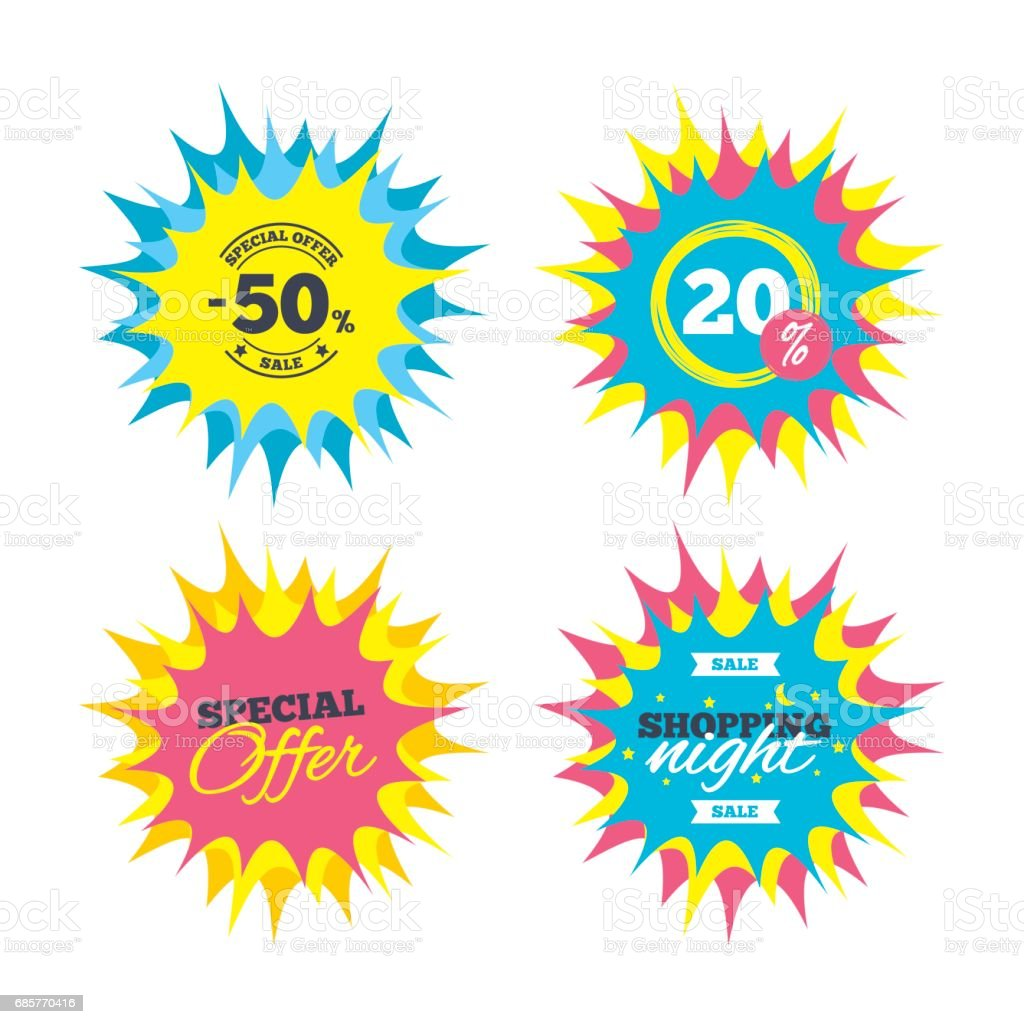 50 percent discount sign icon. Sale symbol. 50 percent discount sign icon sale symbol - immagini vettoriali stock e altre immagini di a forma di stella royalty-free
