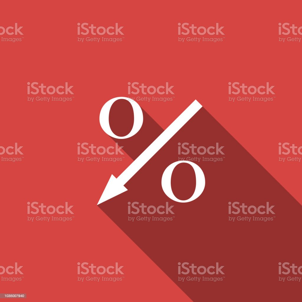 Percent down arrow icon isolated with long shadow. Decreasing percentage sign. Flat design. Vector Illustration Percent down arrow icon isolated with long shadow. Decreasing percentage sign. Flat design. Vector Illustration Agreement stock vector