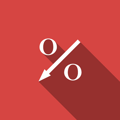 Percent Down Arrow Icon Isolated With Long Shadow Decreasing Percentage Sign Flat Design Vector Illustration Stock Illustration - Download Image Now