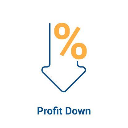 Percent Down Icon Vector Vector Stock Illustration - Download Image Now
