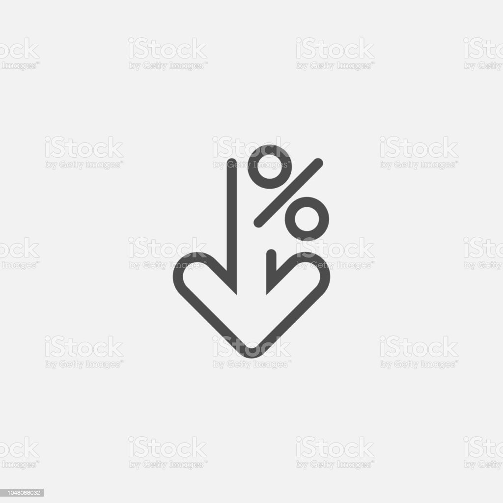 Percent down line icon isolated on white background. Vector illustration. Percent down line icon isolated on white background. Vector illustration. Eps 10. Arrow - Bow and Arrow stock vector