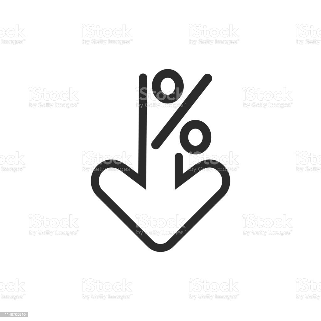 Percent down line icon. Percentage, arrow, reduction. Banking concept. Percent down line icon. Percentage, arrow, reduction. Banking concept. Can be used for topics like investment, interest rate, finance. Arrow - Bow and Arrow stock vector