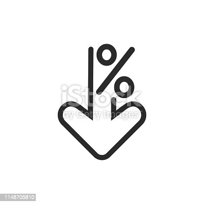 Percent down line icon. Percentage, arrow, reduction. Banking concept. Can be used for topics like investment, interest rate, finance.