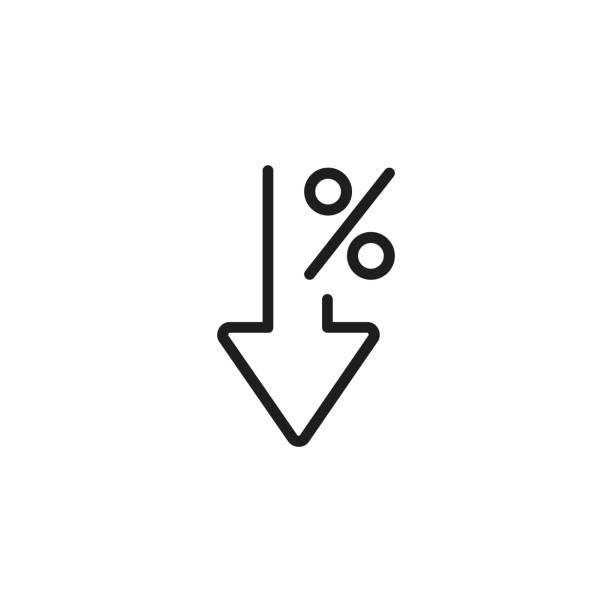 stockillustraties, clipart, cartoons en iconen met procent naar beneden de lijn pictogram - vermindering