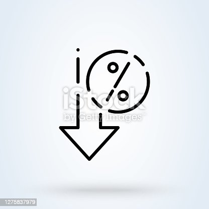 Percent down sign line icon or logo. interest rate reduction or percent down concept. Down arrow discounts vector linear illustration.