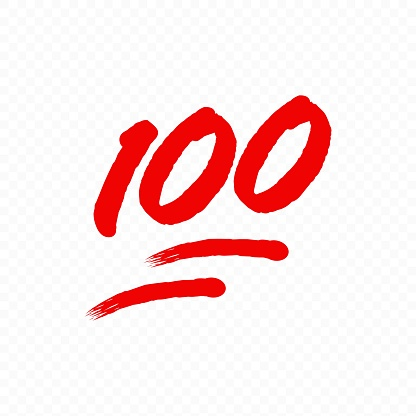 100 percent emoji. One hundred percent sign. Vector EPS 10. Isolated on transparent background