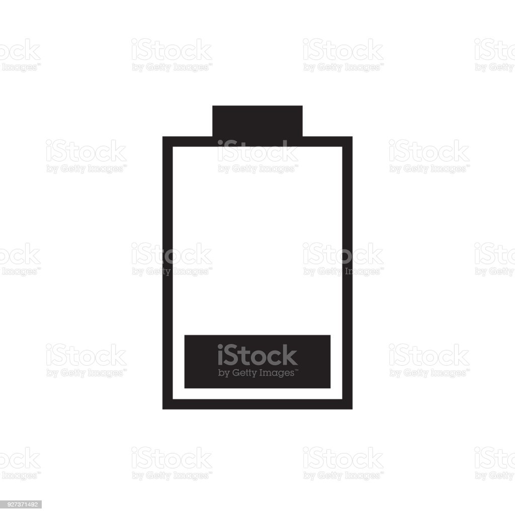 25 percent full battery charge icon vector illustration. Free royalty images. - Royalty-free Alkaline stock vector