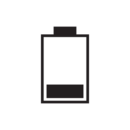 25 Percent Full Battery Charge Icon Vector Illustration Free Royalty Images Stock Illustration - Download Image Now