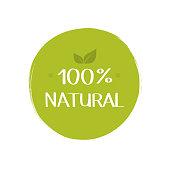 100 percent natural food label. Vegetarian natural, organic, fresh, food sticker. Vector graphic design.
