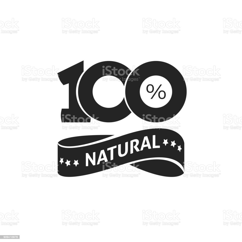 100 percent natural vector green label black and white stamp or rubber isolated, natural sticker or logo symbol design, number 100 vector art illustration