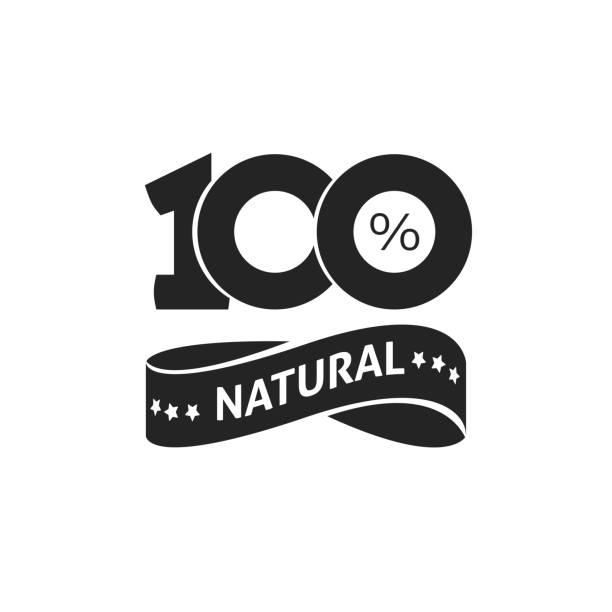 bildbanksillustrationer, clip art samt tecknat material och ikoner med 100 procent naturliga vektor gröna etiketten svartvita stämpel eller gummi isolerade, naturliga klistermärke eller symbol logotypdesign, nr 100 - nummer 100
