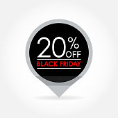 20 percent off. Black Friday Sale and discount pointer or sticker. Price off tag icon. Vector illustration.