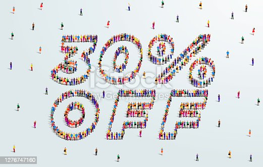 istock 30 Percent off. Large group of people form to create a shape 30% off. Special Offer Sale Design. Vector Illustration of advertising banner. 1276747160