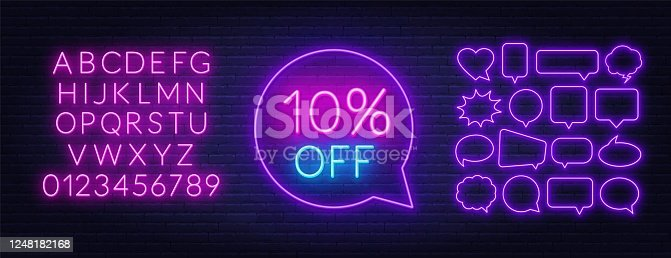 istock 10 percent off neon sign on brick wall background 1248182168