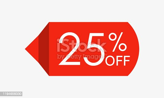 25 percent off. Sale and discount price tag, icon or sticker. Vector illustration.