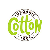 100 percent organic cotton logo. Hand drawn lettering green. Vector text label illustration. Design Print on pack, packaging, cloth tag.