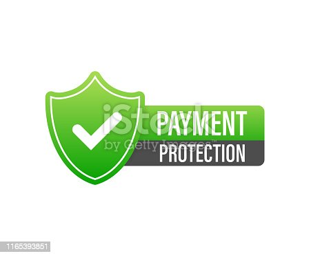 100 percent payment protection shopping web vector icon