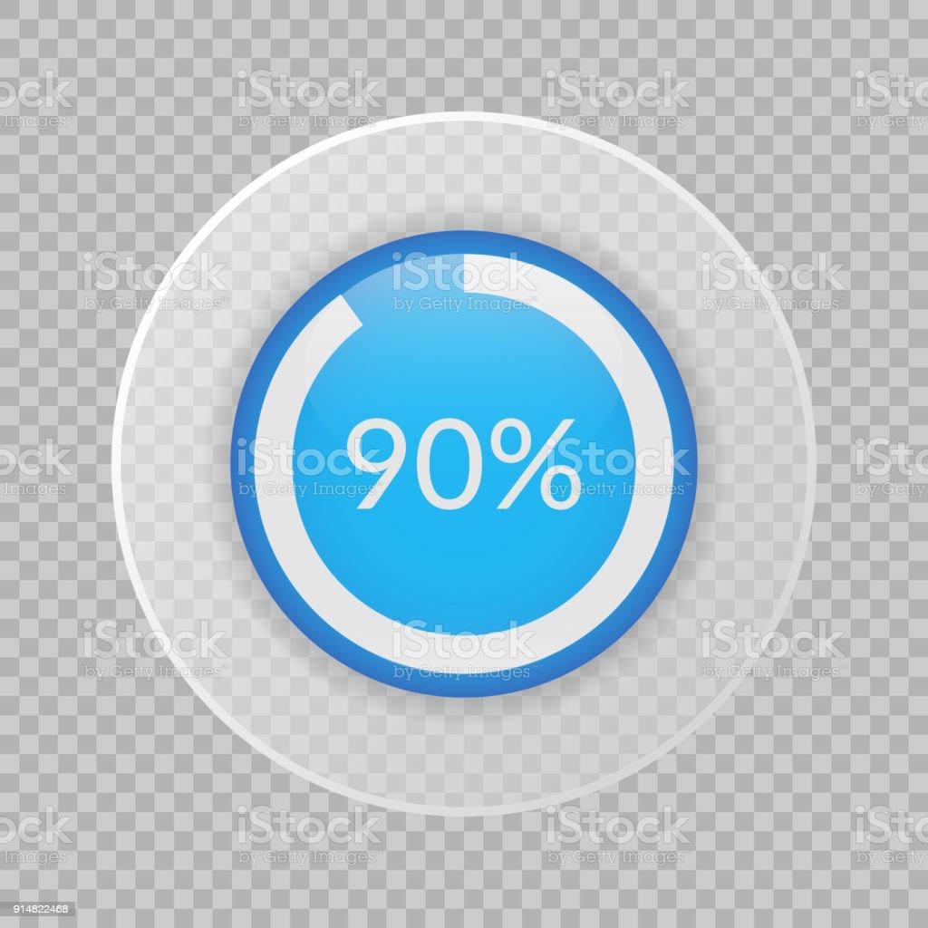 90 Percent Pie Chart On Transparent Background Percentage Vector