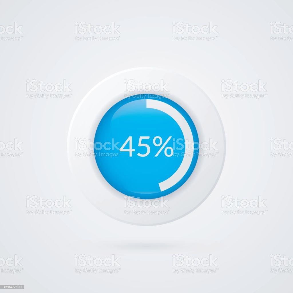 45 Percent Pie Chart Percentage Vector Infographics Circle Diagram