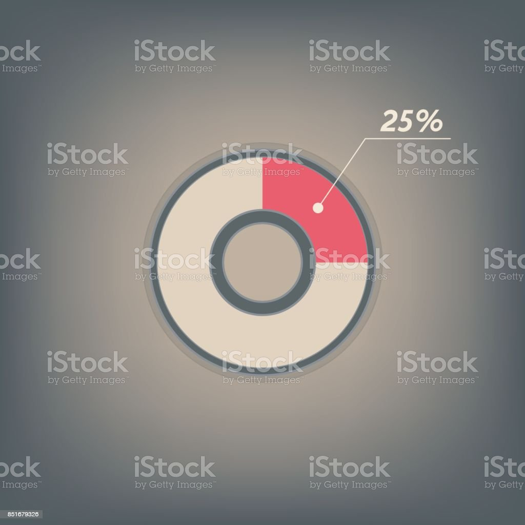 25 percent pie chart. Percentage vector infographics. Circle diagram symbol isolated. Icon illustration for business presentation and marketing project