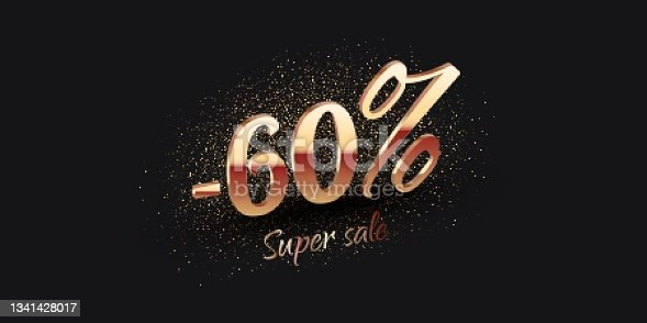 istock 60 Percent Salling Background with golden shiny numbers 1341428017