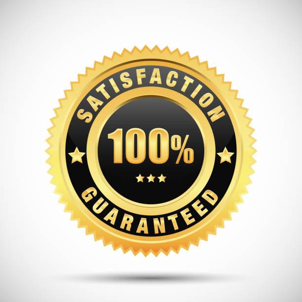 bildbanksillustrationer, clip art samt tecknat material och ikoner med 100 procent tillfredsställelse garanti golden label isolerad på vit bakgrund - nummer 100