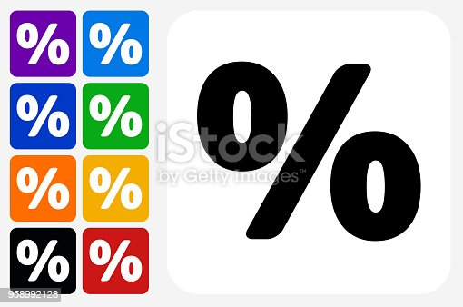 Percent Sign Icon Square Button Set. The icon is in black on a white square with rounded corners. The are eight alternative button options on the left in purple, blue, navy, green, orange, yellow, black and red colors. The icon is in white against these vibrant backgrounds. The illustration is flat and will work well both online and in print.