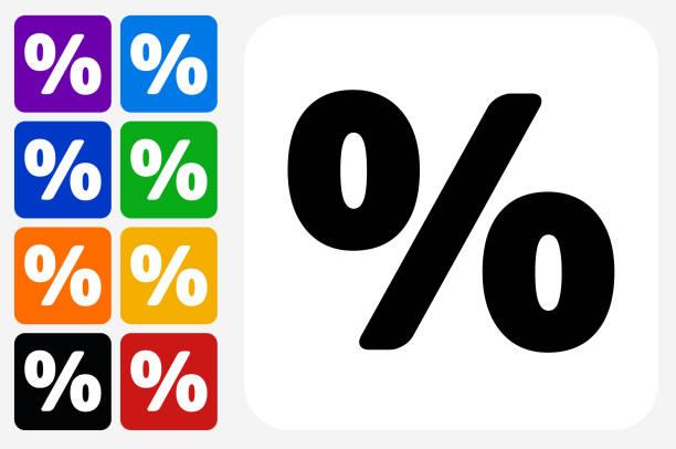 Percent Sign Icon Square Button Set vector art illustration