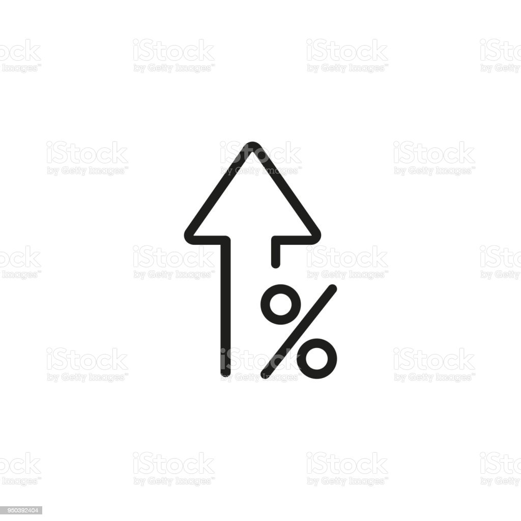 Percent up line icon vector art illustration