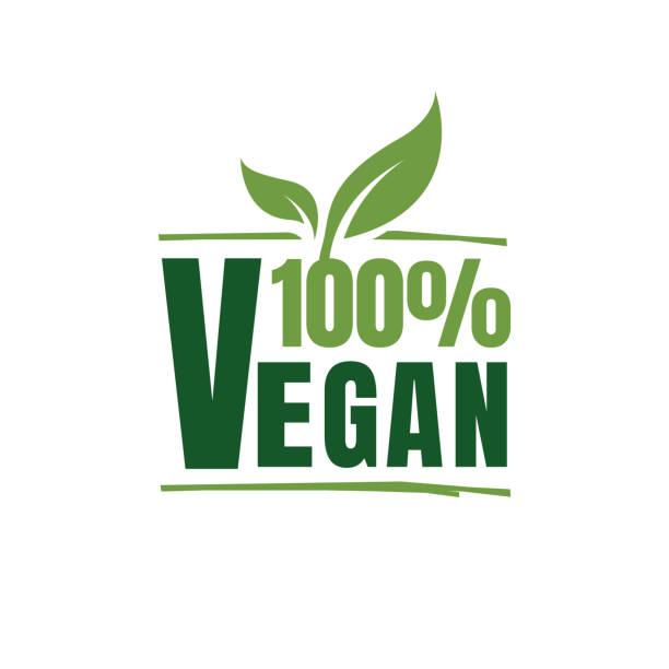 ilustraciones, imágenes clip art, dibujos animados e iconos de stock de logotipo 100% vegano un elemento verde icono vectorial vegetariano - vegana