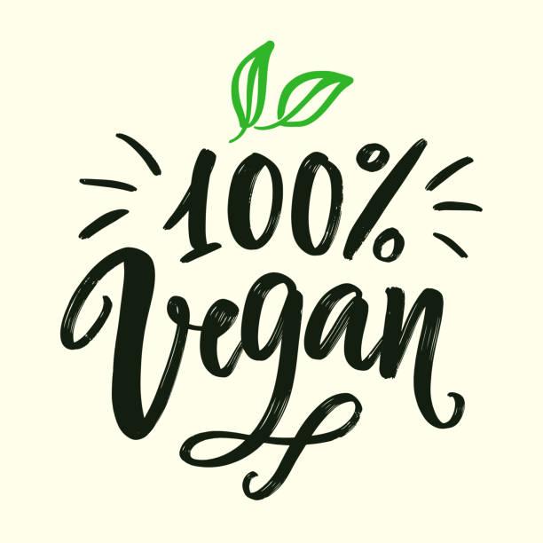 bildbanksillustrationer, clip art samt tecknat material och ikoner med 100 procent vegansk skylt. vektor rund eko, ekologisk grön symbol - vegetarian